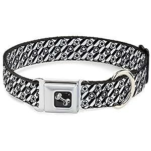 """黑色和白色 BOX 圆形星星格子图案趣味动物*带宠物项圈 五彩 Wide Small/13-18"""""""