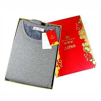 YUZHAOLIN俞兆林 羊毛暖肤绒男式拉丝线护膝型圆领套装8A01-深麻灰 XXL