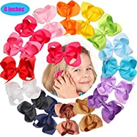 16 Pcs 6 Inch Hair Bows Baby Girls Toddlers Alligator Hair Clips Solid Ribbon Head Wear Accessory
