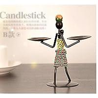 民族风情创意烛台 现代铁人烛台 铁艺工艺品摆件 结婚庆蜡烛台 非洲风格 一组8个