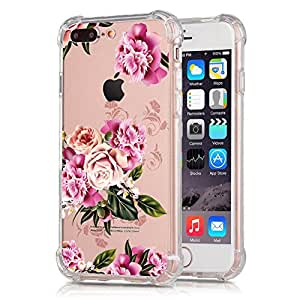 iPhone 7Plus 透明手机壳 SLIM ARMOR 保险杠软 TPU 花卉透明后盖适用于苹果 iPhone 7Plus 14cm Purple Carnation