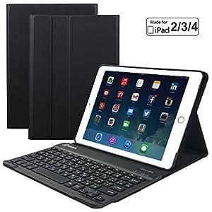 Eoso iPad 2/3/4 内置无线纤薄外壳磁性 PU 保护套,7 色背光男女通用 黑色 for iPad 2/3/4