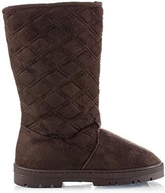 RF ROOM OF FASHION 女式人造羊毛毛皮衬里隐藏口袋中筒冬靴 Chocolate Su 6.5 M US