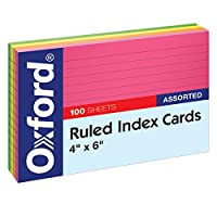 "Oxford Ruled Index Cards, 4"" x 6"" Size, Assorted Glow Colors, 100 per Pack (99755)"
