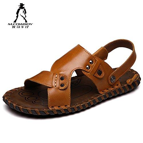 牧马牛仔 男士凉鞋 真皮凉鞋 男露趾头层牛皮夏季沙滩鞋 休闲皮凉鞋 2A7801