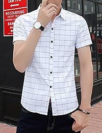 Goralon 男士短袖衬衫商务休闲浅色格子免烫衬衣寸衫 夏季男士衬衣休闲上衣潮男汗衫