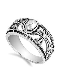 椭圆形金银丝十字绣花珠宽戒指。 925 纯银戒指尺寸 5-11