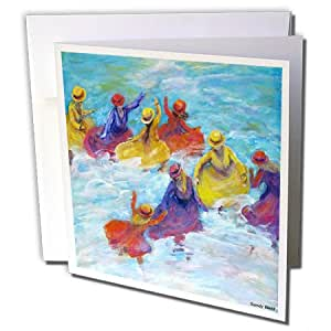 Sandy Welds 海滨女孩 - 冲浪舞者,女孩在海洋玩耍 - 贺卡 Set of 6 Greeting Cards