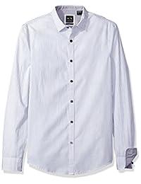 a x Armani EXCHANGE 男式平纹长袖系扣针织