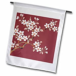tnmgraphics 花卉–日本白色花朵 ON 栗色–旗帜 12 x 18 inch Garden Flag