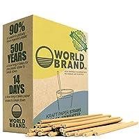 世界品牌 300 片装无染料生物降解纸吸管,Kraft 制造