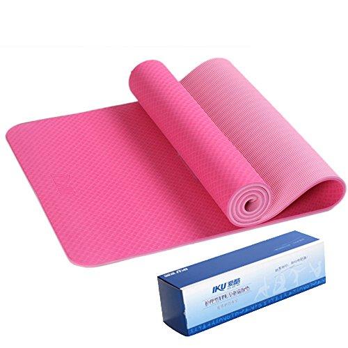IKU 双层标准宽tpe瑜伽垫 8MM加厚加长保护关节瑜珈垫 环保净味防滑瑜伽健身垫子 183cm*61cm*8mm 送背袋