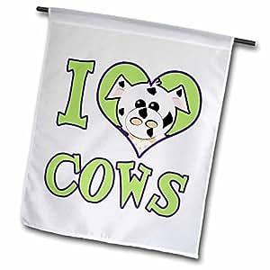 dooni Designs goofkins 字符–I Heart LOVE 奶牛卡通–旗帜 12 x 18 inch Garden Flag