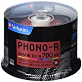 三菱化学媒体 Verbatim CD-R(Data) 1次记录用700MB 48倍速 50张主轴箱SR80PH50V1 唱片 标签
