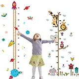 2PCS Height Growth Chart Sticker Removable Hanging Rulers Animals Spaceship Rocket Wall Decal Decoration for Kids