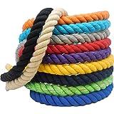 Ravenox 天然扭曲棉绳 - 美国制造,结实的三根绳,适用于运动、装饰、宠物玩具、工艺品、Macramé 和室内室外使用(多色)