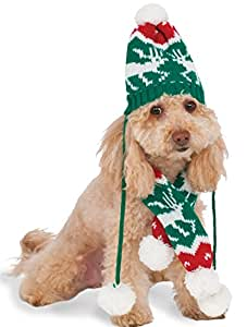 Rubies Costume Company 580330_M-L Knit Winter Scarf and Hat Set for Pet, Medium/Large