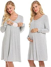 Ekouaer 哺乳睡衣*长袍配送/人工/孕妇/孕妇/孕妇/孕妇/孕妇柔软哺乳连衣裙