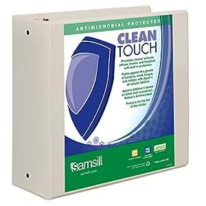 Samsill Clean Touch 圆形戒指演示文稿时尚活页夹,*添加剂保护 10.16 cm 4-Inch 白色