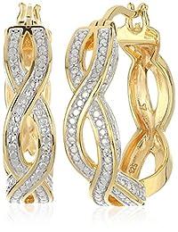 18K 镀金纯银双色钻石 infinity 环状耳环