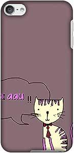 Amzer 修身款手工设计师印花扣合硬壳后盖带屏幕清洁套件皮肤适用于 iPod touch 6 代AMZ601040830285 Mahi Aau Kitty- Plum