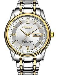 嘉年华手表 商务系列防水男士全自动机械表 双日历精钢带夜光镶水钻男表 间金白色腕表