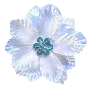 Cuteque International 6 件套缎 Gladiola 花朵搭配彩色亮片簇,*缝制 浅蓝色 2.25 英寸 CQA22S-LT BLUE