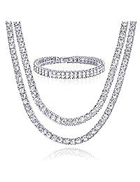 METALTREE98 14k 金/镀银 40.64cm + 45.72cm 双网球链和 2 排 X 20.32cm 手镯套装男式女式项链 银色调