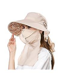Siggi 女式夏季 Flap 覆盖盖棉质 UPF 50+ 遮阳帽子带领 CORD
