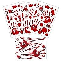 Horror Bloody 脚印 手印 地板贴 万圣节窗户贴花 吸血鬼僵尸派对装饰 大裸足印 指纹 浴室墙贴 3+1 sheets handprint 1.00