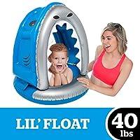 BigMouth INC Lil' 可爱浮动带遮篷 - 超耐用双室三点式*带带带儿童*阀和 UPF 50+ 保护婴儿泳池漂浮 Silly Shark
