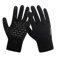 针织触屏手套 男女冬季保暖情侣款 毛线加绒 防滑手套 (男款黑色)
