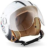 """Soxon - SK 55 Neon""。 儿童喷气头盔架 - 摩托车头盔滑板车头盔儿童喷气头盔复古 - ECE 认证 - 遮阳板 - 多遮阳板 TM Ready - 超小外壳 - XXS-S(49 至 54 厘米) XXS (49-50cm) SK-55 KIDS FUN WHITE - XXS"