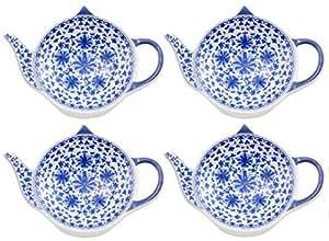 茶壶形状陶瓷茶包杯垫;一套手工茶包杯架,勺子托带有传统花卉中国图案 蓝色和白色