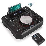 DJ 混音器无线扬声器接口 - 2 通道蓝牙 DJ 控制器音频混音器录音机,无需电线无线扬声器发射器数字显示,双 USB SD,3.5 毫米输入 - Pyle PMX6BU