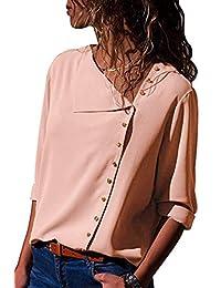 女式长袖纽扣衬衫 - 休闲衬衫宽松版型雪纺衬衫纯色上衣