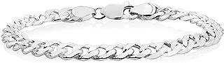 Verona Jewelers 7.5 毫米,8 毫米 9.2MM 纯银古巴环链手链男士- 925 意大利制链