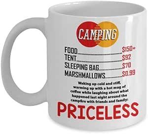 野营主题咖啡杯 - 野营 Is Priceless - 趣味陶瓷野营灵感马克杯 - 白色马克杯/黑色印花 白色 11 oz