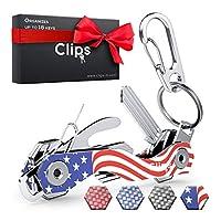 智能小巧钥匙扣钥匙扣 - 由碳纤维和不锈钢制成 - 可收纳多达 18 个钥匙 - 轻质、结实的钥匙小配件包括 Sim & 开瓶器、登山扣等 美国国旗