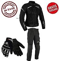 女式摩托车 COMBI 夹克 + 裤子 + 手套 自行车/摩托车摇椅 旅行 XS 黑色 gfjhfuehfh