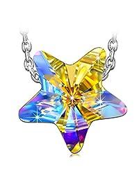"QIANSE ❤""幸运之星""❤""925 纯银项链礼盒,闪闪发光的施华洛世奇水晶 - 送上幸运之星!  白色"