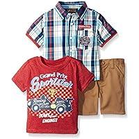 "boyzwear 婴儿男孩 "" 3件套格子纽扣衬衫和 T 恤"