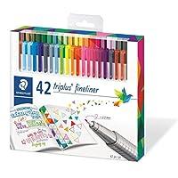 Staedtler 施德楼 Triplus 勾线笔 334 SB10 桌面适用,盒装 标准包装 Pack of 42 多种颜色