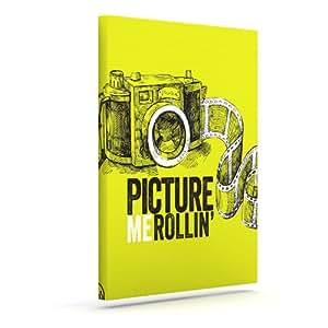 "Kess InHouse KESS 原创""Picture Me Rollin Yellow II""户外帆布墙艺术 10"" x 12"" 黄色 KIH003CAC02"