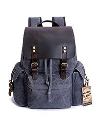 SUVOM 复古帆布皮革笔记本电脑背包男式书包 39.62 cm 防水旅行背包