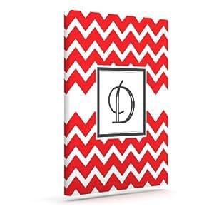 Kess InHouse KESS 原创交织字母 V 形红色字母 D 户外帆布墙壁艺术,40.64 x 50.8 厘米
