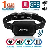 AngelaKerry 无线狗围栏系统,带 GPS,无电击,户外宠物封闭系统可充电防水震动项圈850YD 遥控器,适用于15磅-120磅的狗狗 黑色