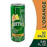 Perrier 香橙风味 气泡矿泉水(柠檬香橙味),8.45液体盎司(250ml)纤细罐装 (30罐)