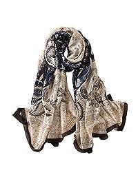 Alice 女士经典丝绸佩斯利印花长围巾披肩