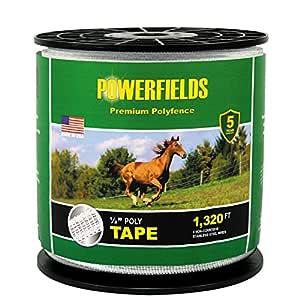 Powerfields EW5-660 1/2-Inch Wide 5 Wire Polytape, 660-Feet, White